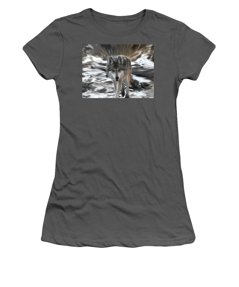 Wolf Women's T-Shirt (Athletic Fit) featuring the digital art Out Of Nowhere by Ernie Echols