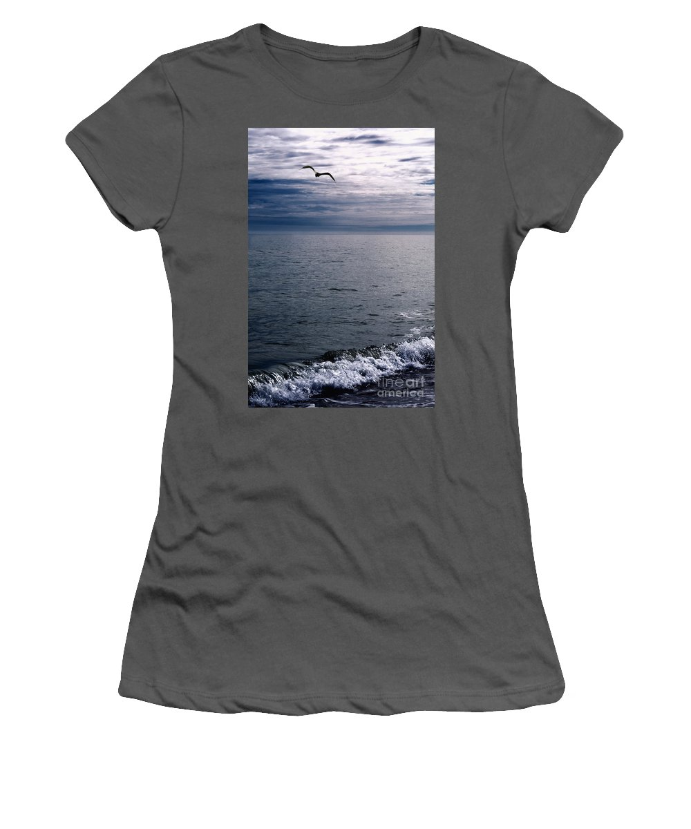 Alone Women's T-Shirt (Athletic Fit) featuring the photograph Over The Ocean by Margie Hurwich