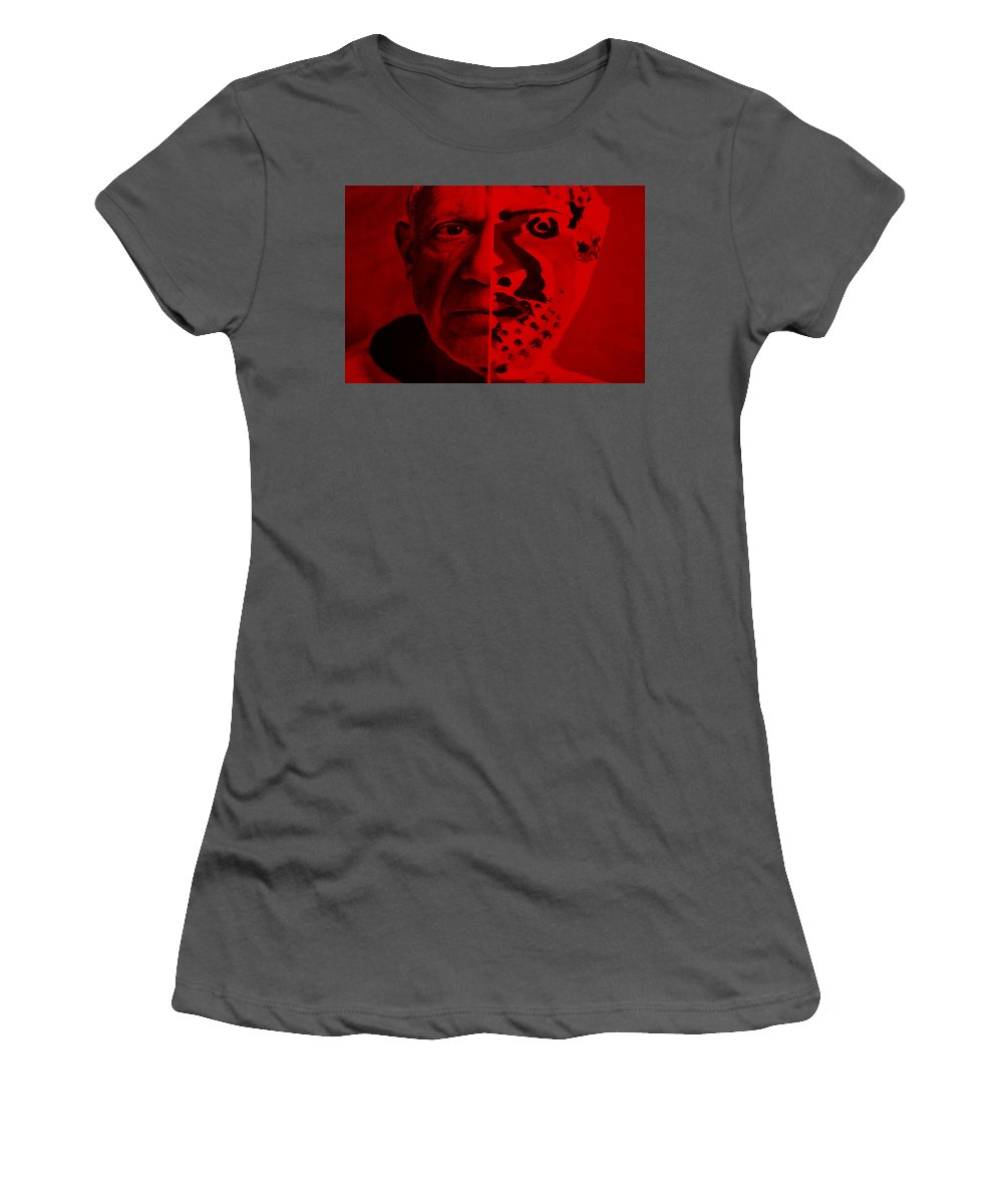Pablo Picasso Women's T-Shirt (Athletic Fit) featuring the photograph Pablo Red by Rob Hans