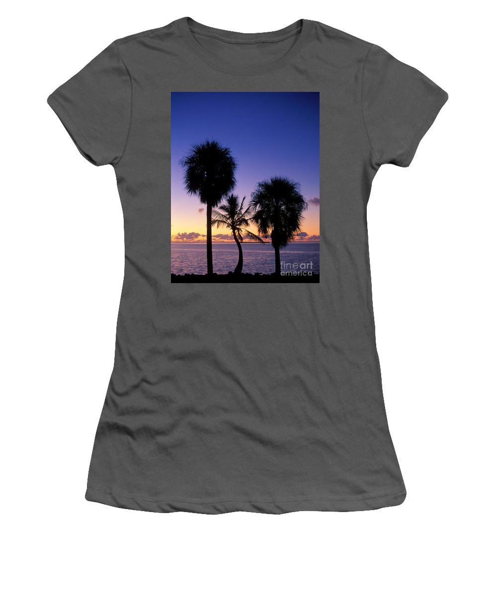 Plant Women's T-Shirt (Athletic Fit) featuring the photograph Palms At Sunrise by David Davis