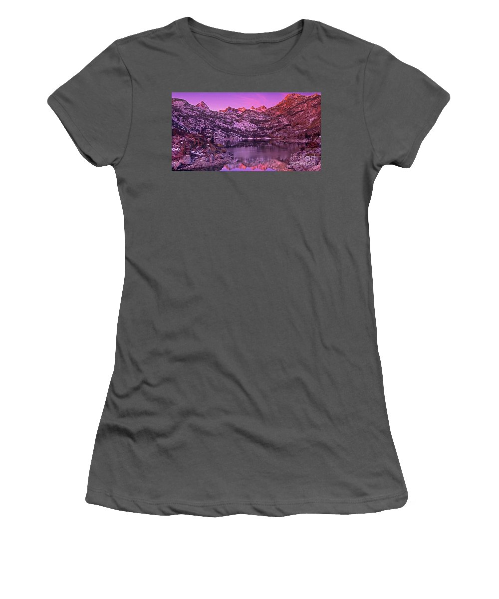 North America Women's T-Shirt (Athletic Fit) featuring the photograph Panorama Lake Sabrina Eastern Sierras California by Dave Welling