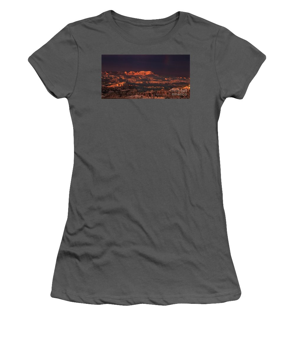 Hoodoos Women's T-Shirt (Athletic Fit) featuring the photograph Panorama Rainbow Bryce Canyon National Park Utah by Dave Welling