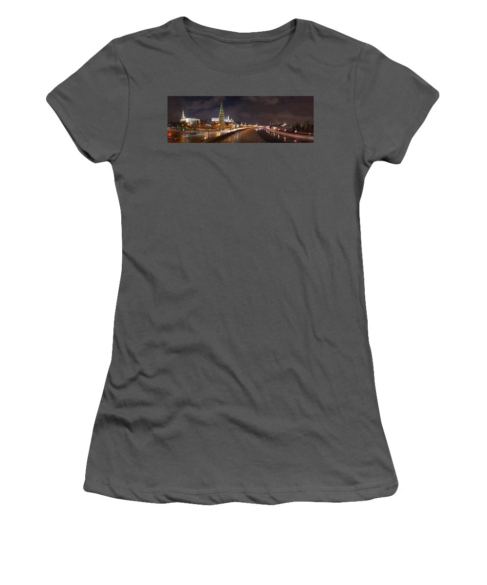 Featured Women's T-Shirt (Athletic Fit) featuring the photograph Panoramic View Of Moscow River And Moscow Kremlin Embankment by Alexander Senin