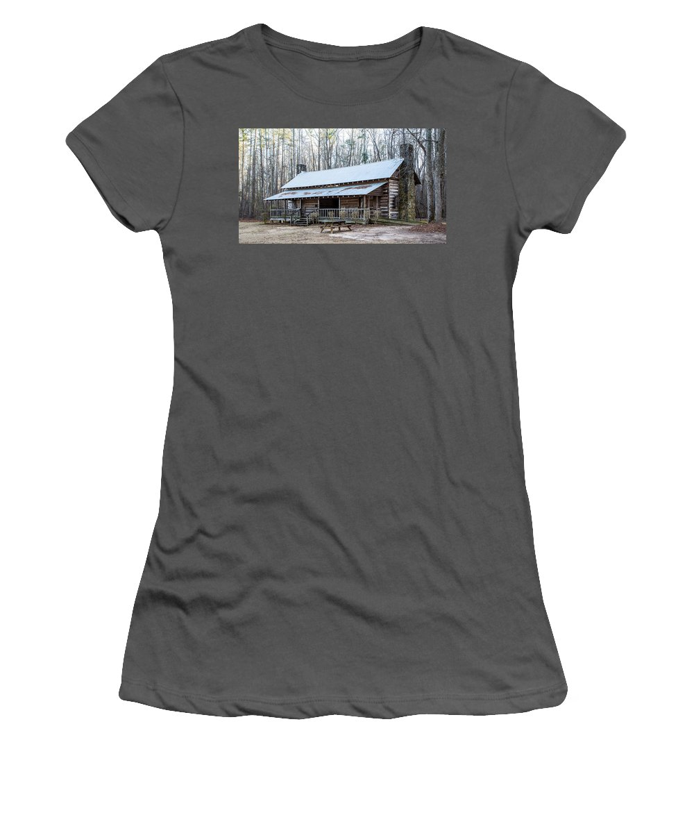 Log Women's T-Shirt (Athletic Fit) featuring the photograph Park Ranger Cabin by Charles Hite