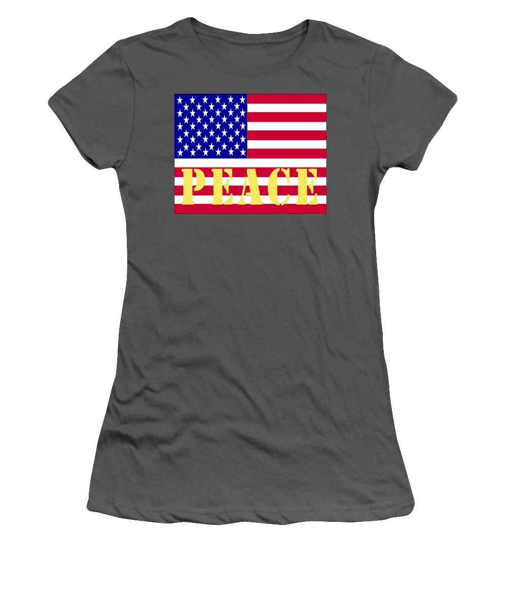 Barbara Snyder Women's T-Shirt (Athletic Fit) featuring the digital art Peace The American Flag by Barbara Snyder