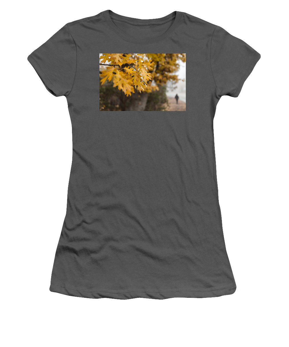 Fall Leaves Women's T-Shirt (Athletic Fit) featuring the photograph Peacefull Fall Walk by Scott Campbell