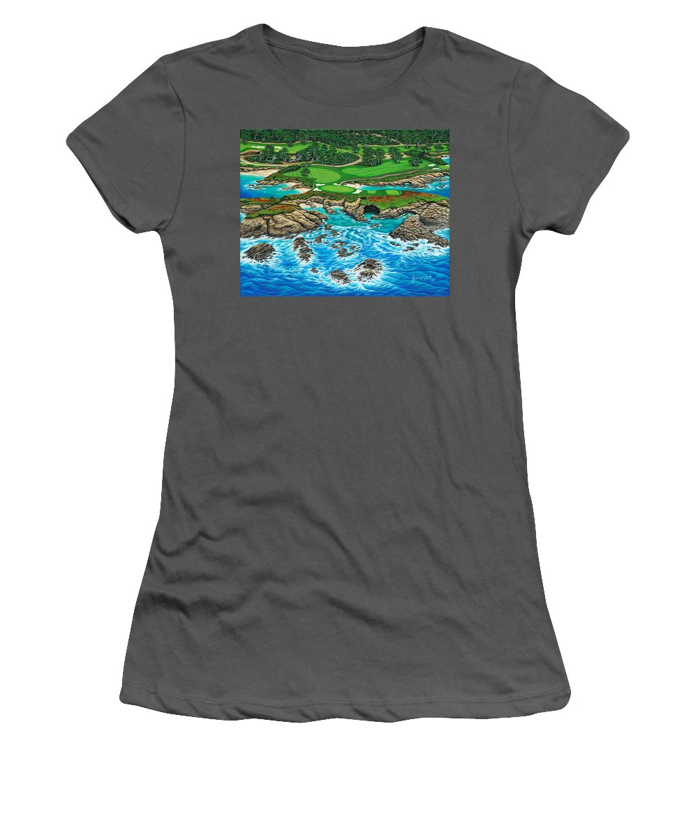 Ocean Women's T-Shirt (Athletic Fit) featuring the painting Pebble Beach 15th Hole-north by Jane Girardot