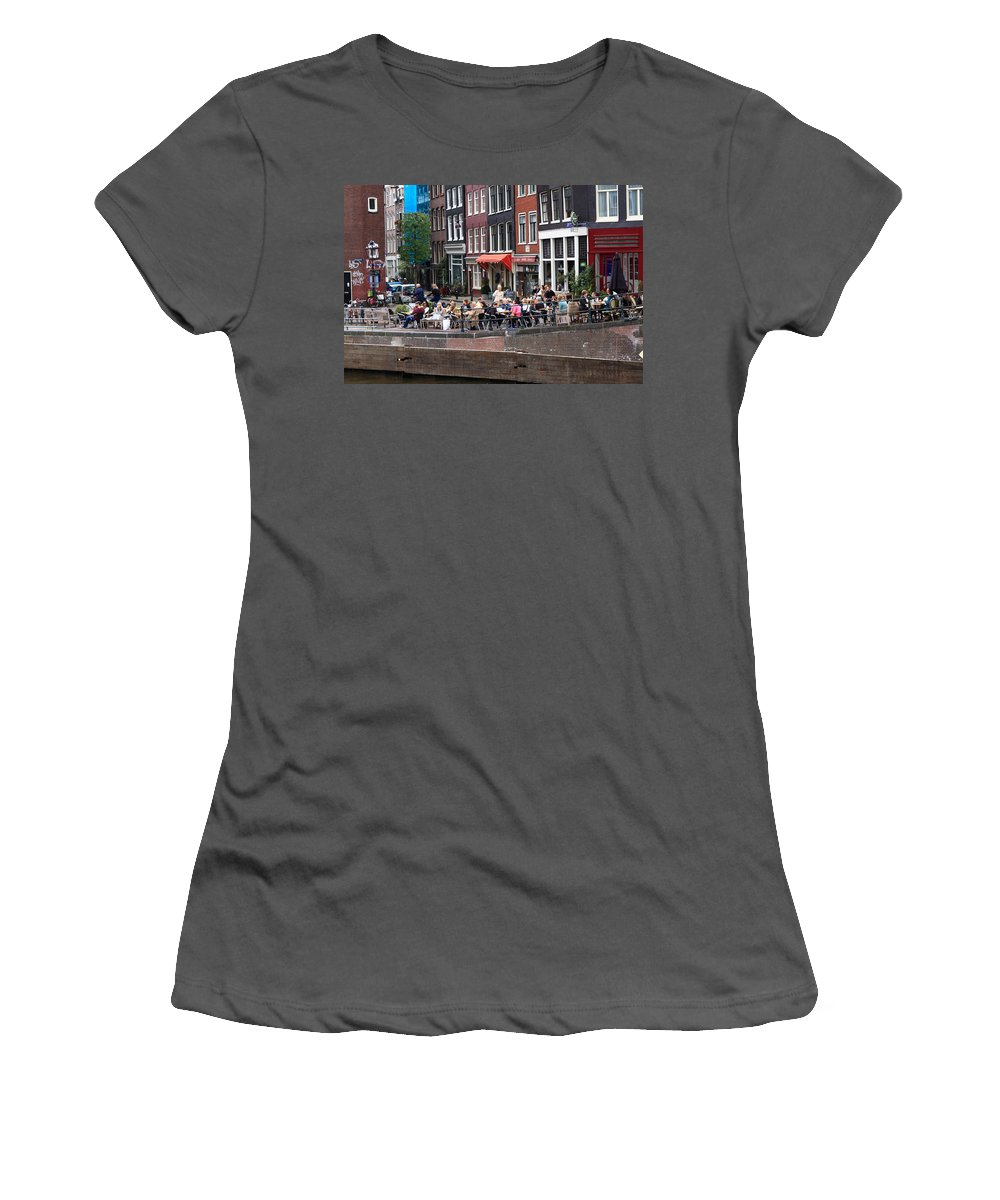 Amsterdam Women's T-Shirt (Athletic Fit) featuring the photograph People By The Canal by Aidan Moran