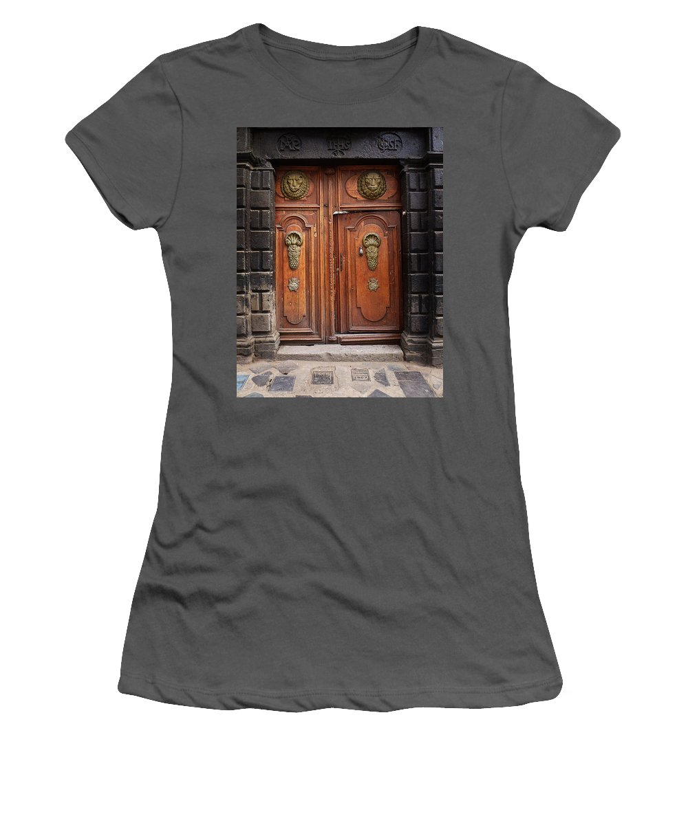 Antique Women's T-Shirt (Athletic Fit) featuring the photograph Peruvian Door Decor 10 by Xueling Zou