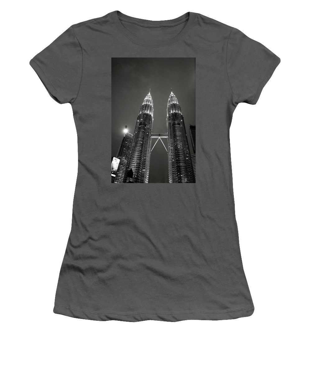 Petronas Towers Women's T-Shirt (Athletic Fit) featuring the photograph Petronas Towers At Night by Shaun Higson