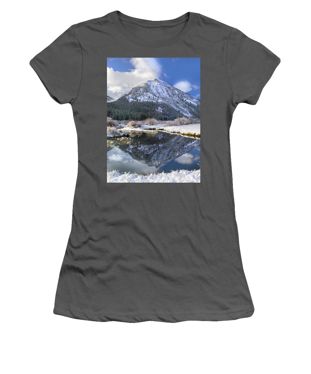 Feb0514 Women's T-Shirt (Athletic Fit) featuring the photograph Phi Kappa Mountain Reflected In River by Tim Fitzharris