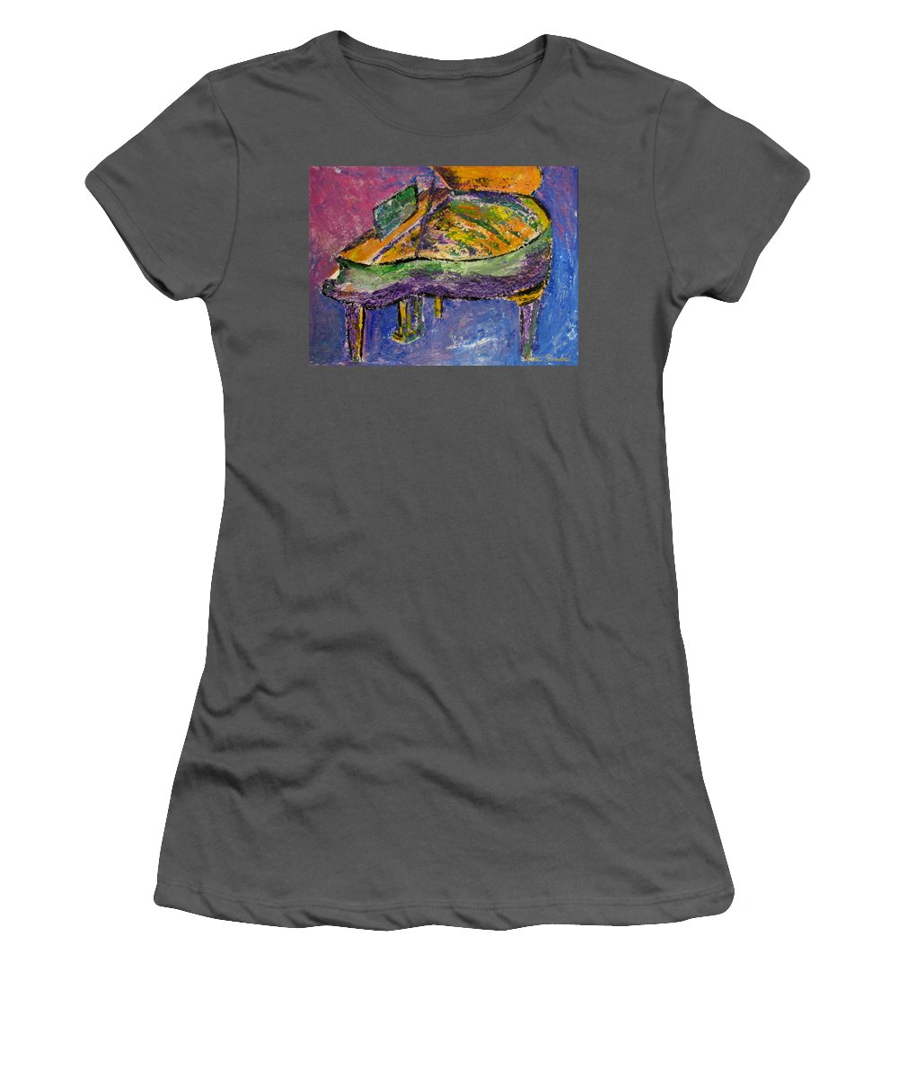 Impressionist Women's T-Shirt (Athletic Fit) featuring the painting Piano Purple by Anita Burgermeister