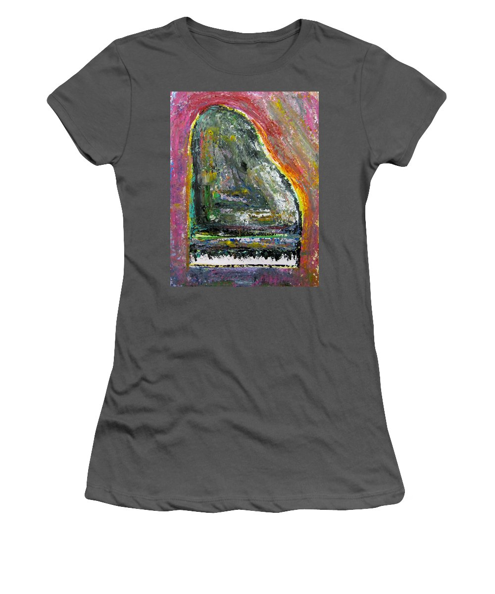 Impressionist Women's T-Shirt (Athletic Fit) featuring the painting Piano Red by Anita Burgermeister