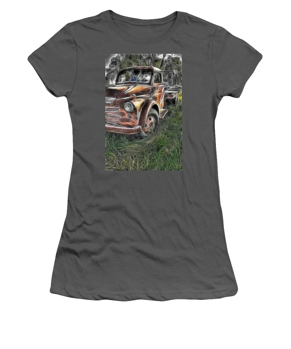 Pickup Truck Women's T-Shirt (Athletic Fit) featuring the photograph Pickup 2467 by Timothy Bischoff