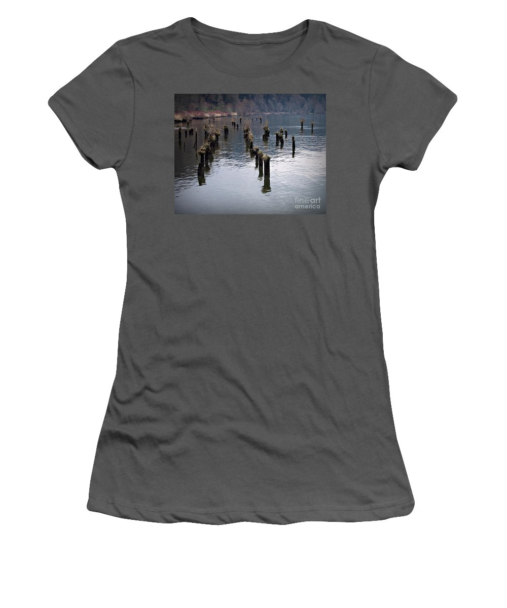 Pilings Women's T-Shirt (Athletic Fit) featuring the photograph Pilings by Chalet Roome-Rigdon