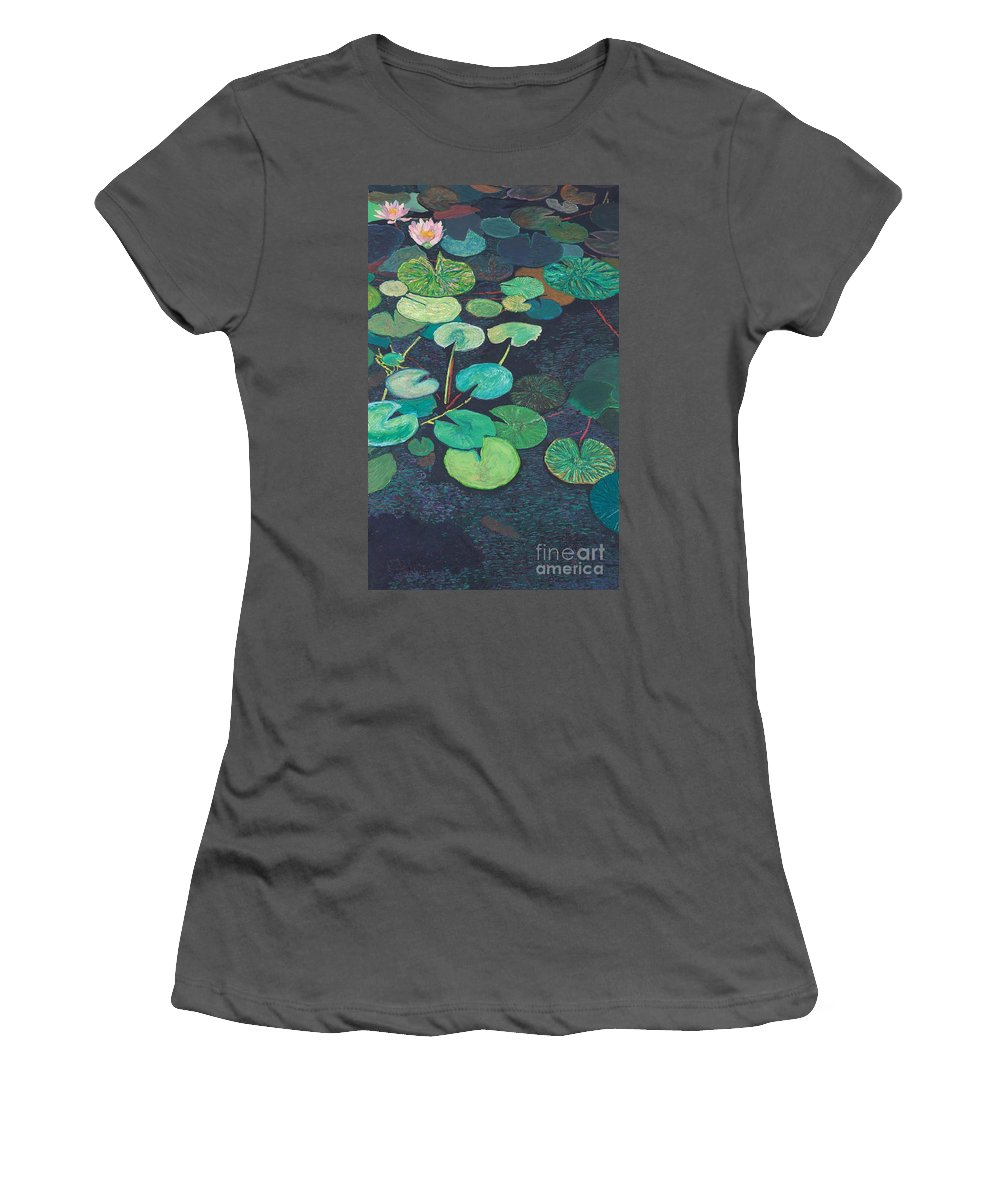 Landscape Women's T-Shirt (Athletic Fit) featuring the painting Pink Lilies by Allan P Friedlander