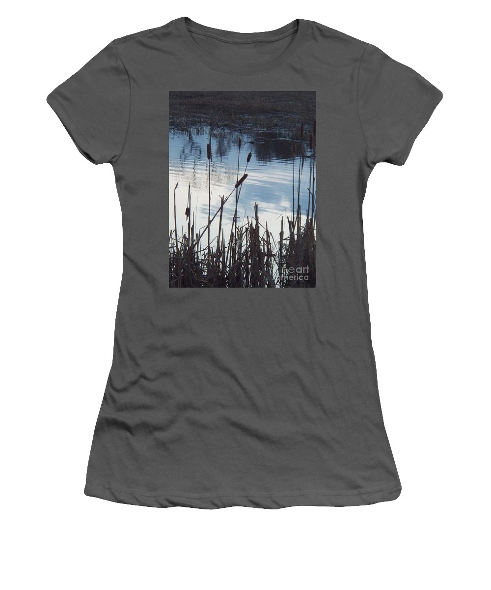 Landscape Women's T-Shirt (Athletic Fit) featuring the photograph Pond At Twilight by Eric Schiabor