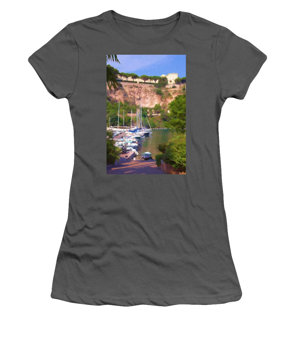 Blue Women's T-Shirt (Athletic Fit) featuring the painting Port And Palace by Jeffrey Kolker