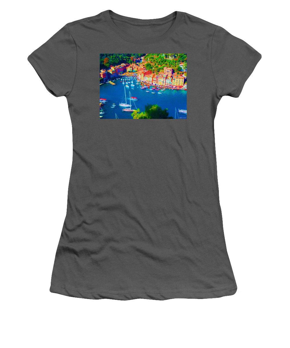 Portofino Women's T-Shirt (Athletic Fit) featuring the mixed media Portofino by Michelle Dallocchio