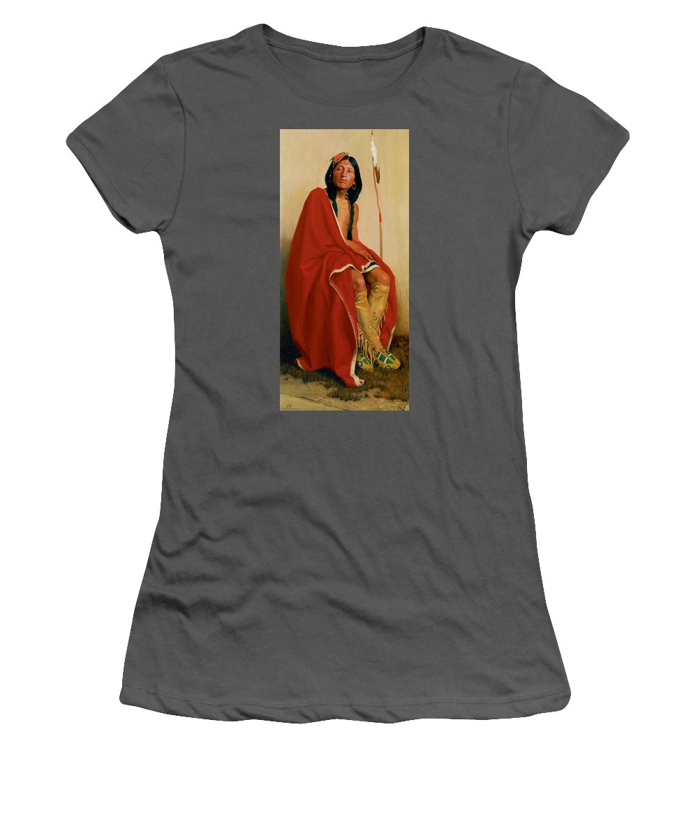 Eanger Irving Couse Women's T-Shirt (Athletic Fit) featuring the photograph Elk Foot Of The Taos Tribe by Eanger Irving Couse
