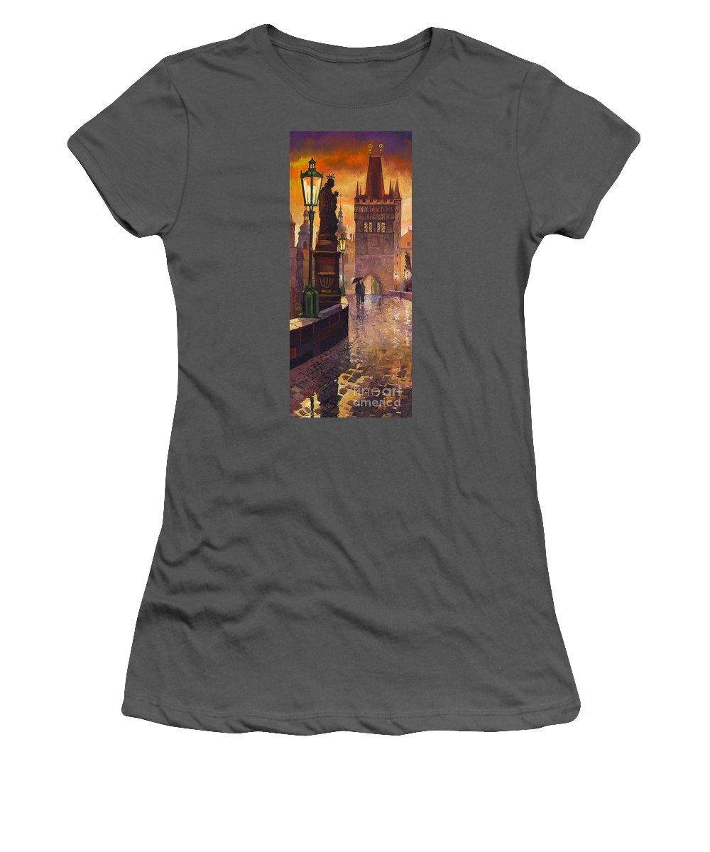 Prague Women's T-Shirt (Athletic Fit) featuring the painting Prague Charles Bridge 01 by Yuriy Shevchuk