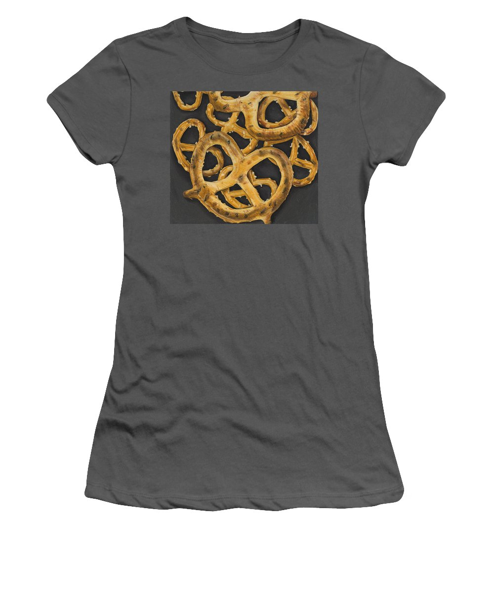 Food Women's T-Shirt (Athletic Fit) featuring the drawing Pretzels Study by Jennifer Hotai