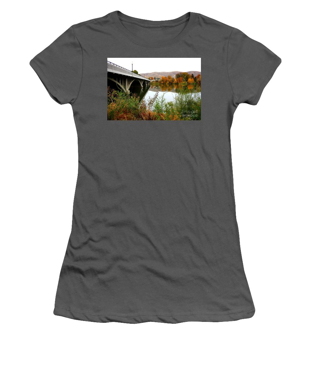 Prosser Women's T-Shirt (Athletic Fit) featuring the photograph Prosser Bridge And Fall Colors On The River by Carol Groenen