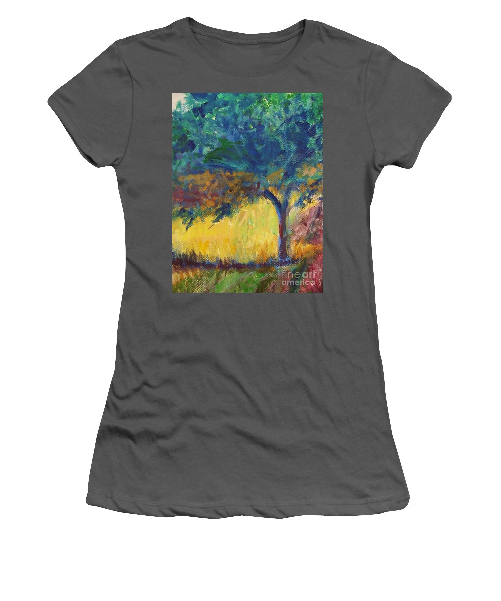 Provence Women's T-Shirt (Athletic Fit) featuring the painting Provence Tree by Eric Schiabor