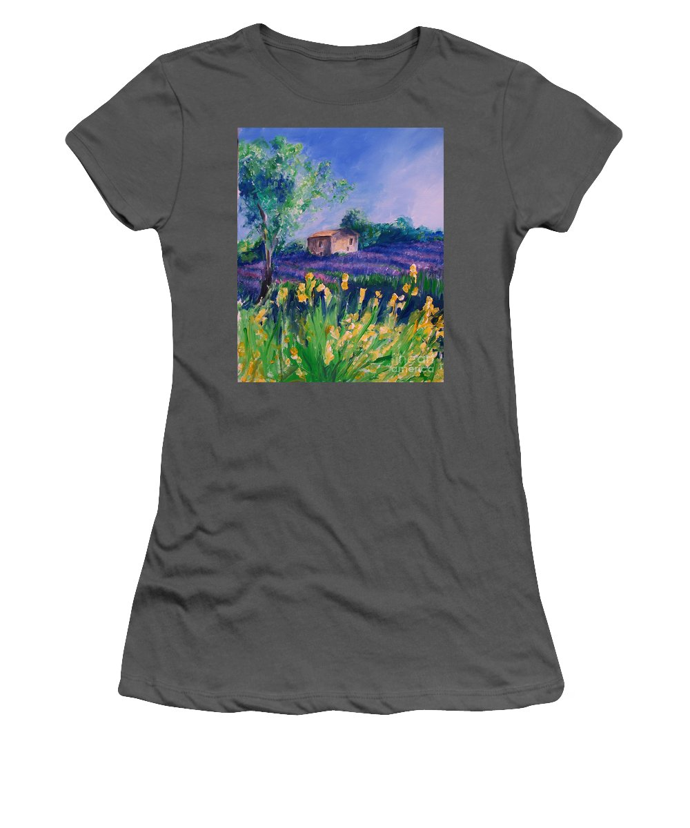 Floral Women's T-Shirt (Athletic Fit) featuring the digital art Provence Yellow Flowers by Eric Schiabor