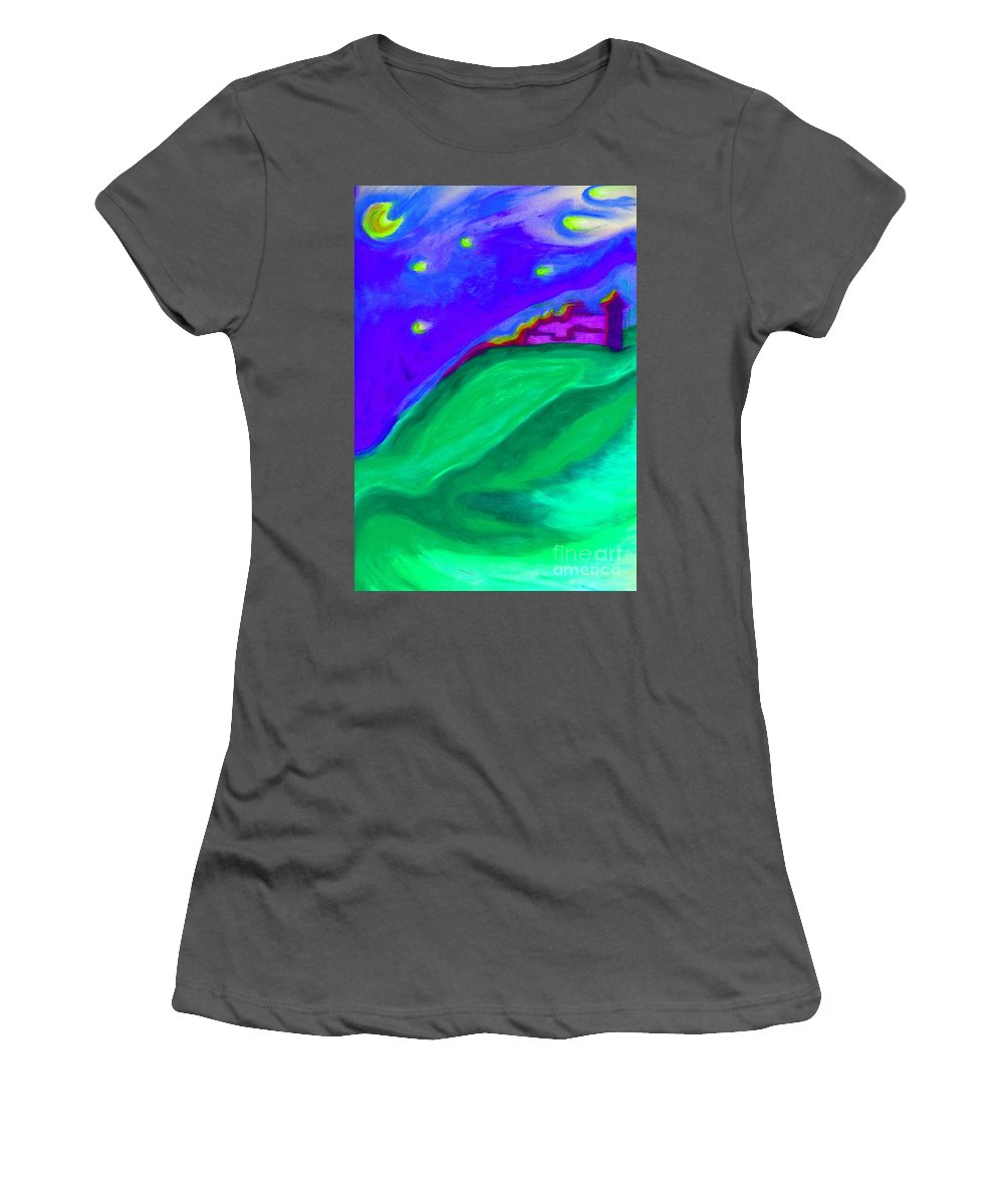 Castle Women's T-Shirt (Athletic Fit) featuring the painting Purple Castle By Jrr by First Star Art