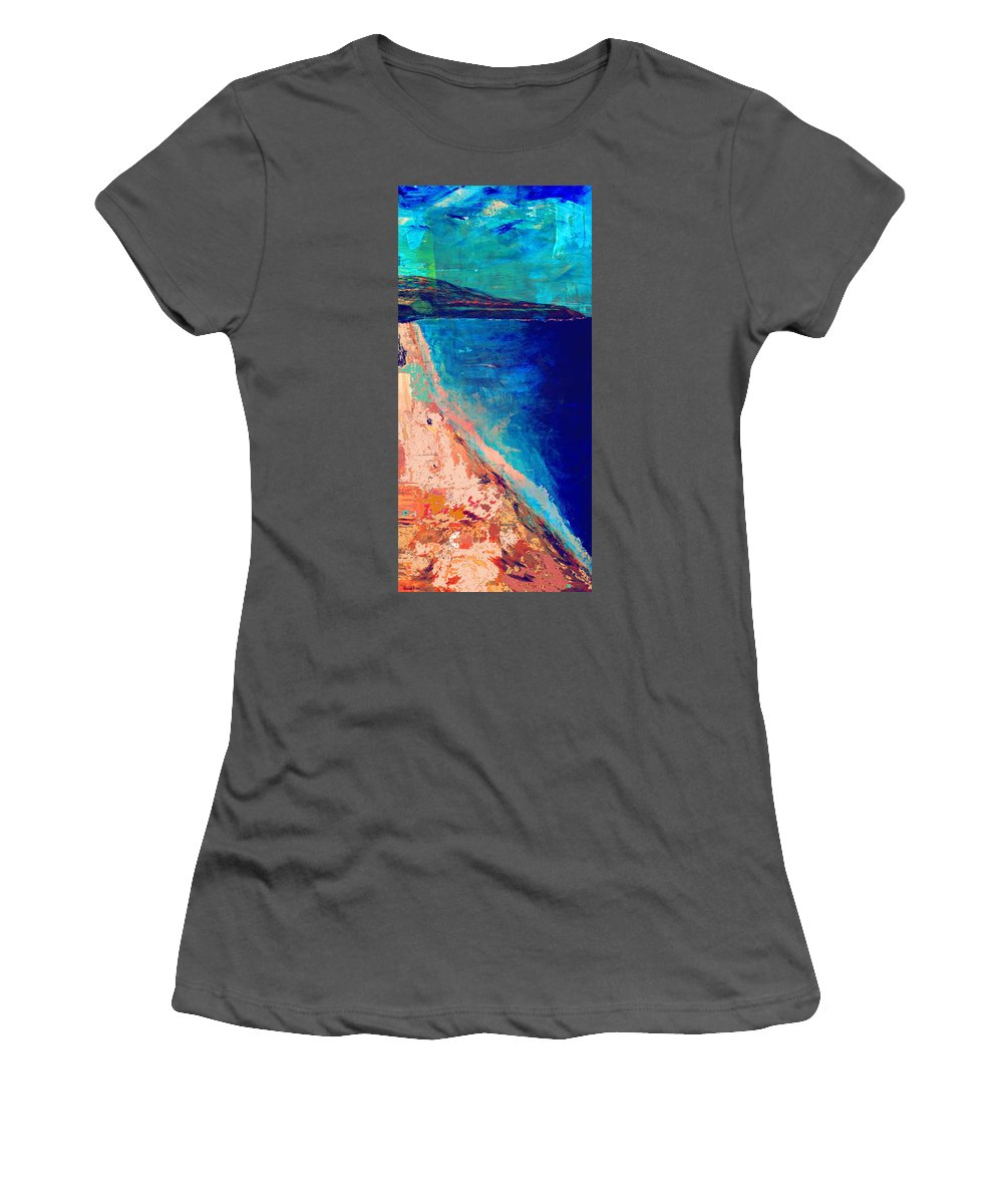 Seascape Women's T-Shirt (Athletic Fit) featuring the painting Pv Abstract by Jamie Frier