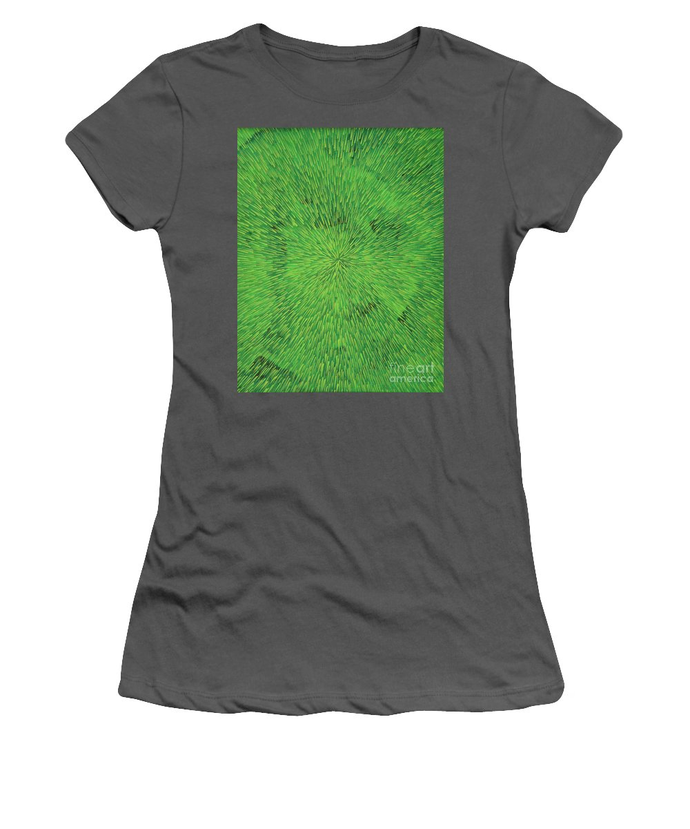 Abstract Women's T-Shirt (Athletic Fit) featuring the painting Radiation Green by Dean Triolo