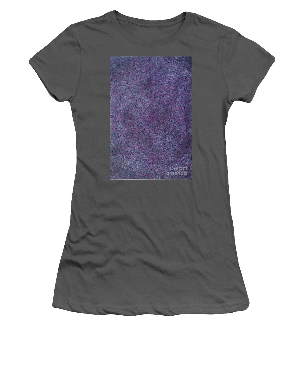Abstract Women's T-Shirt (Athletic Fit) featuring the painting Radiation Violet by Dean Triolo