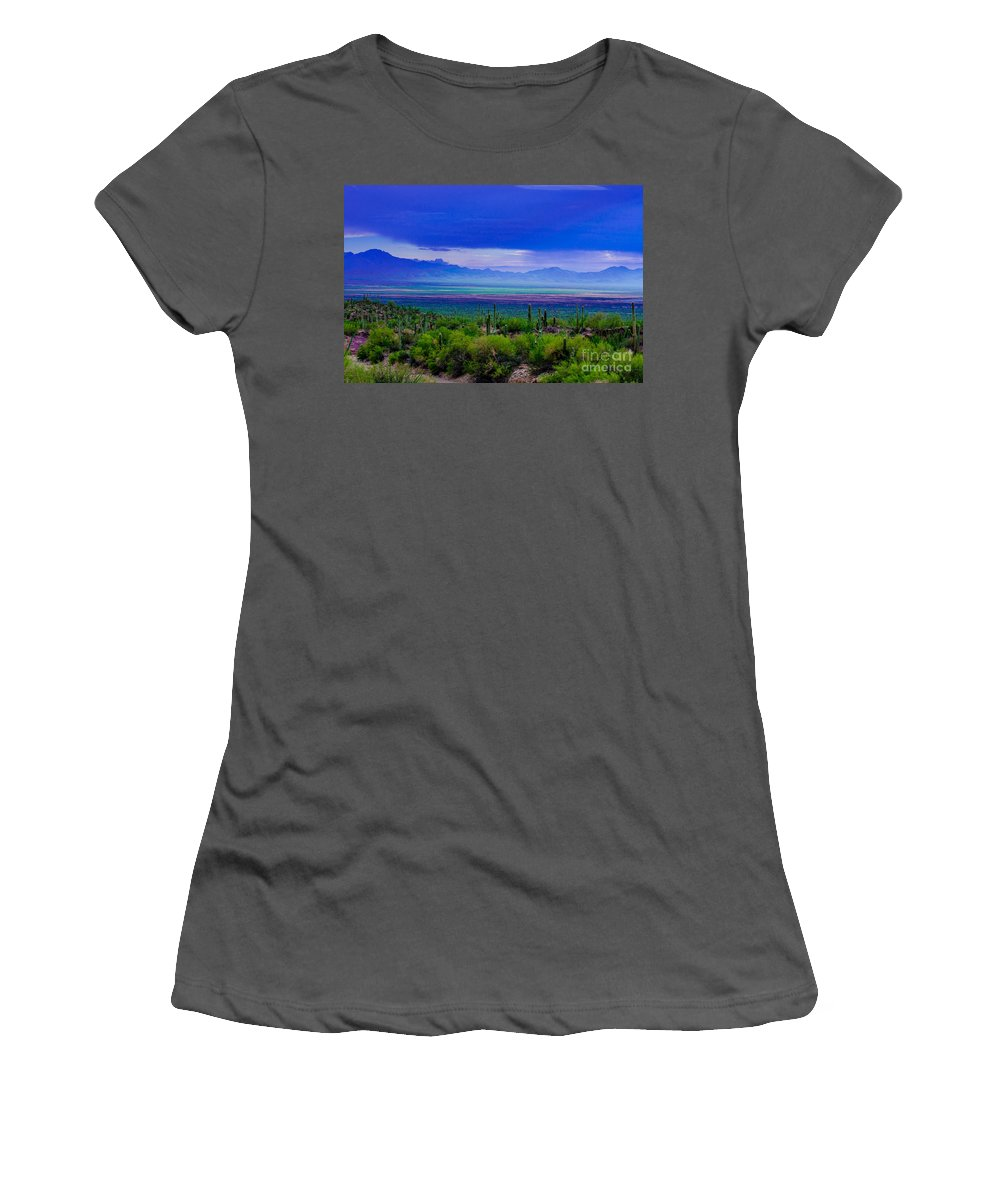 Rainbow Women's T-Shirt (Athletic Fit) featuring the photograph Rainbow Desert Landscape by Michael Moriarty