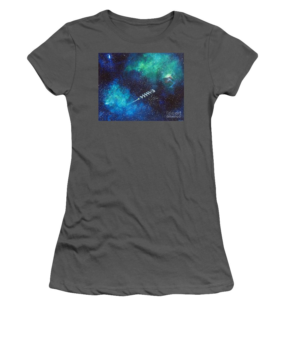 Spacescape Women's T-Shirt (Athletic Fit) featuring the painting Reaching Out by Murphy Elliott