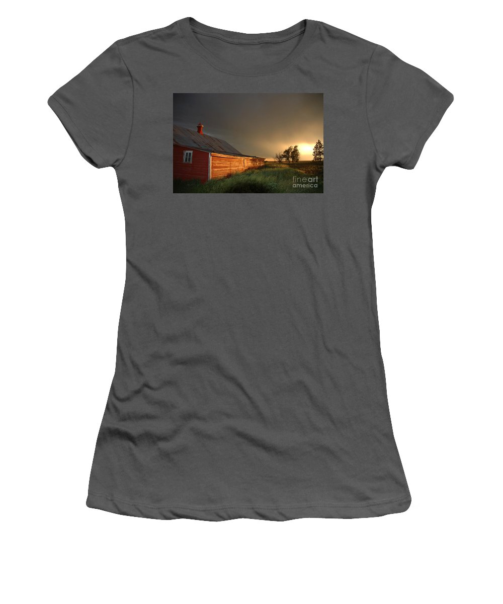 Barn Women's T-Shirt (Athletic Fit) featuring the photograph Red Barn At Sundown by Jerry McElroy
