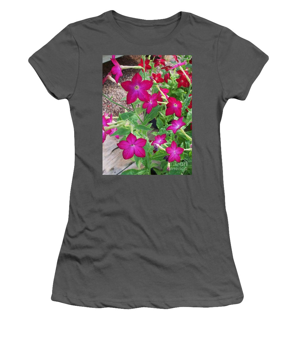 Red Flowers Women's T-Shirt (Athletic Fit) featuring the photograph Red Flowers by Eric Schiabor