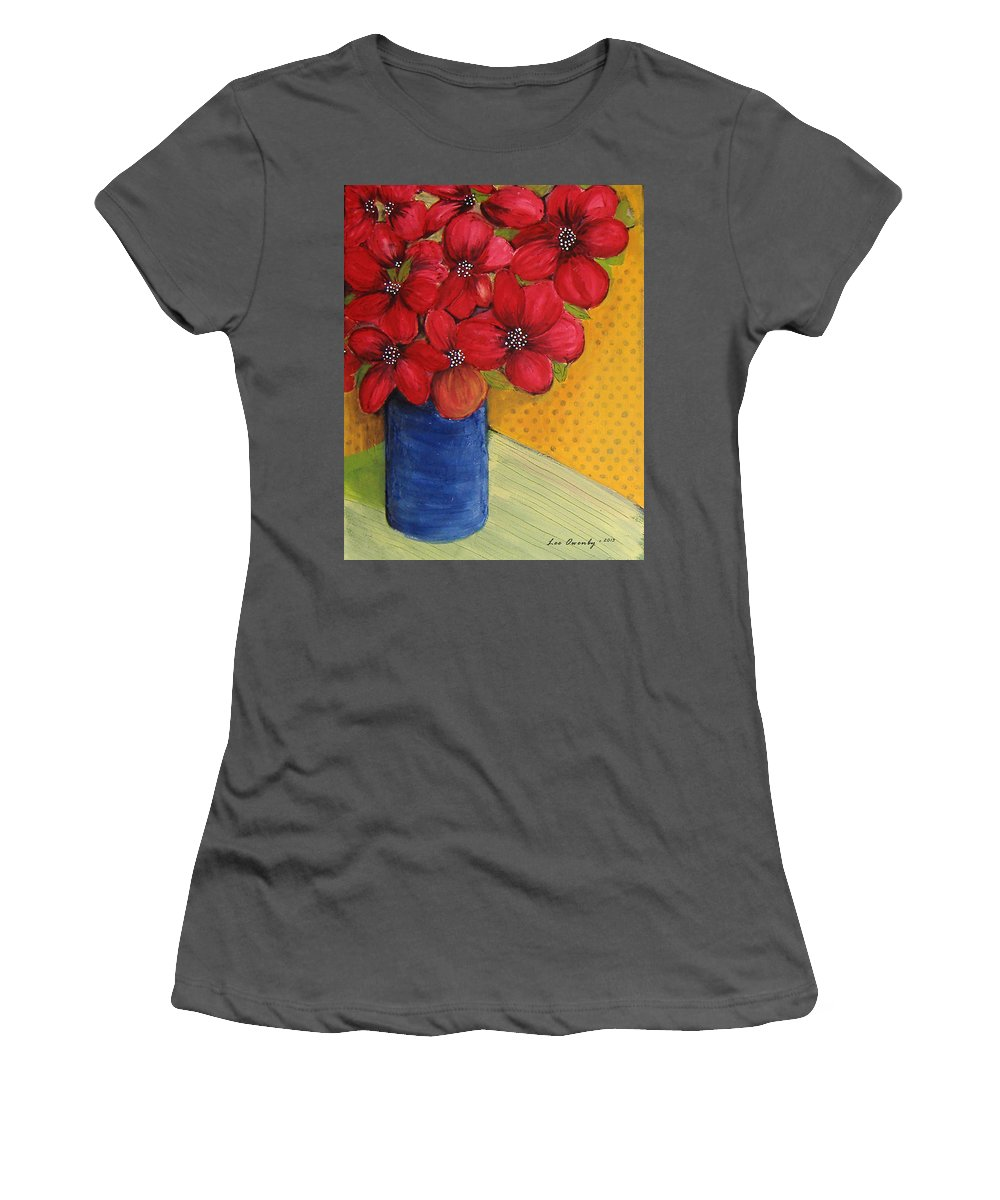 Red Flowers Women's T-Shirt (Athletic Fit) featuring the painting Red Flowers In A Blue Vase by Lee Owenby