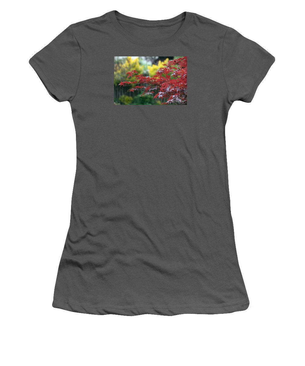 Glimpses Of Autumn Women's T-Shirt (Athletic Fit) featuring the photograph Red And Yellow Leaves by Luv Photography