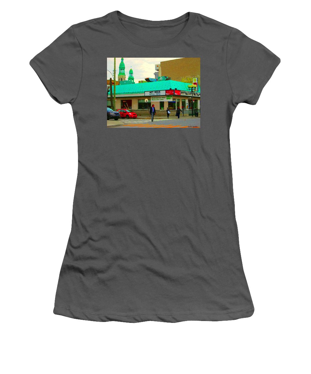 St.henri Women's T-Shirt (Athletic Fit) featuring the painting Rediscover Your Greenspot Notre Dame St Henri Dogs Et Frites Urban Food City Scenes Carole Spandau by Carole Spandau