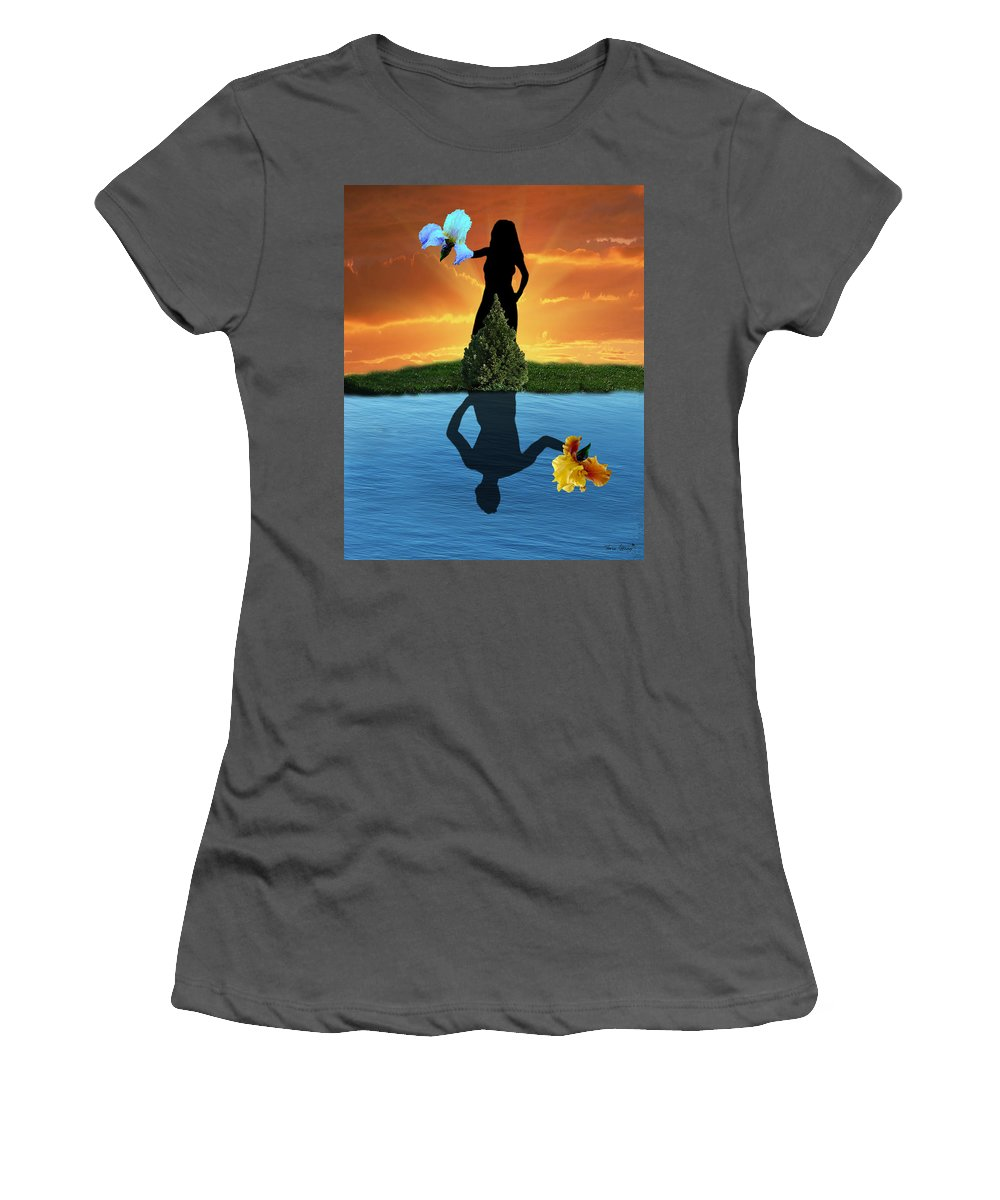 Fleurotica Art Women's T-Shirt (Athletic Fit) featuring the digital art Reflecting by Torie Tiffany
