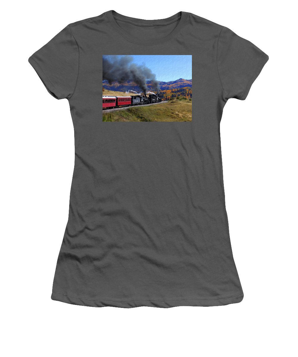 Railroad Women's T-Shirt (Athletic Fit) featuring the photograph Rio Grande 488 And 489 by Kurt Van Wagner