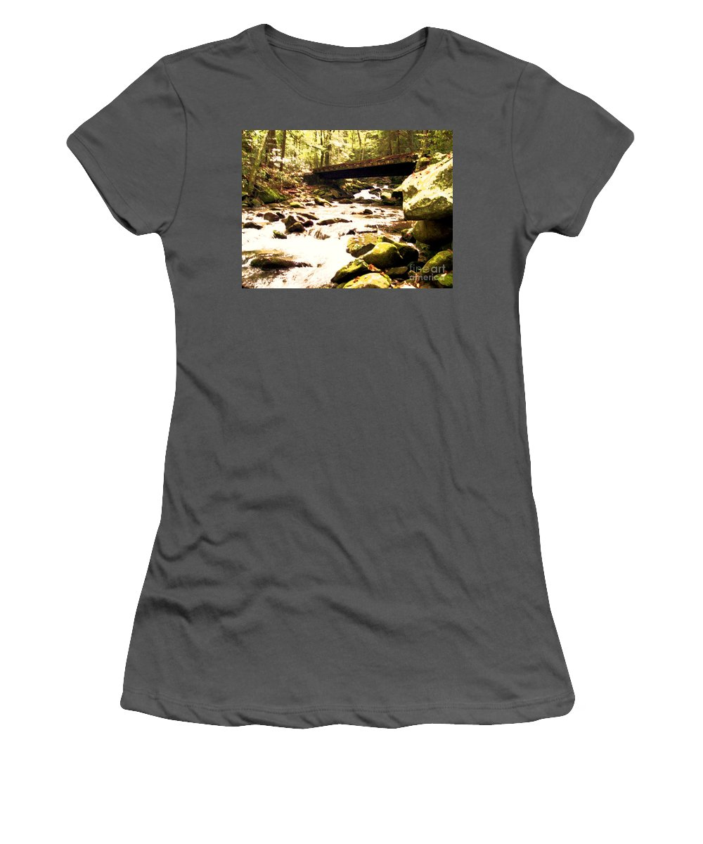 Stream Women's T-Shirt (Athletic Fit) featuring the photograph Rocky Stream With Bridge by Desiree Paquette