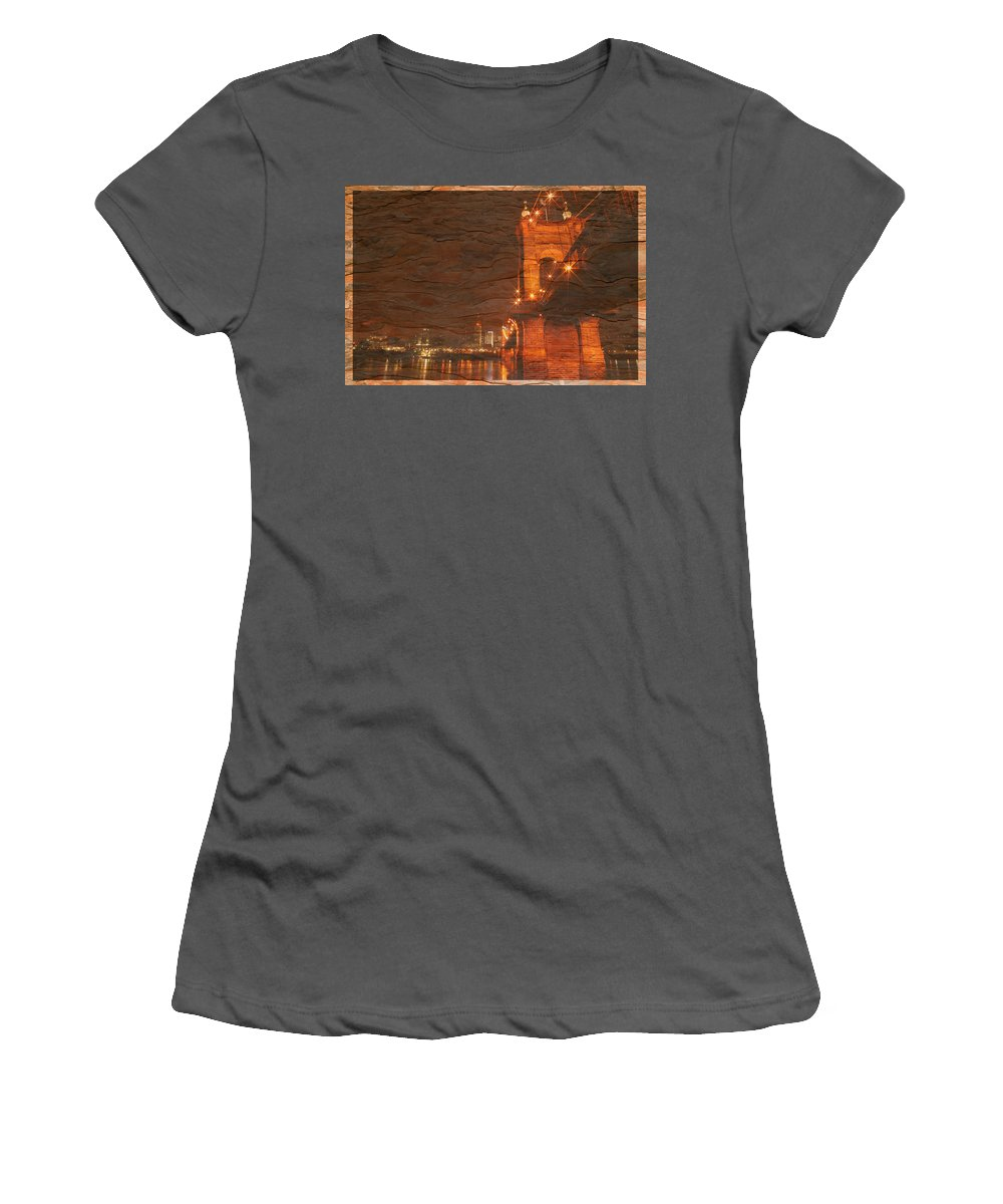 Roebling Bridge Women's T-Shirt (Athletic Fit) featuring the photograph Roebling Bridge Stone N Wood by Randall Branham