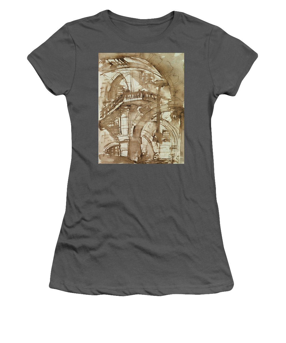 Romische Kerker; Incarceration; Gaol; Jail; Neoclassical; Barrel-vaulted Women's T-Shirt (Athletic Fit) featuring the drawing Roman Prison by Giovanni Battista Piranesi