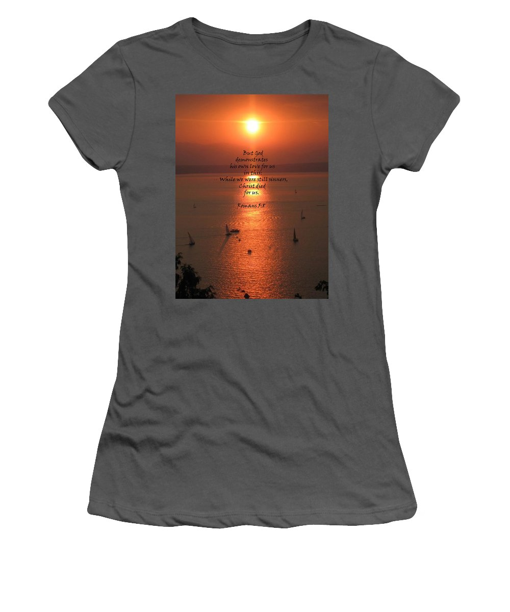 Puget Sound Women's T-Shirt (Athletic Fit) featuring the photograph Romans 5 8 by Stephanie Broker