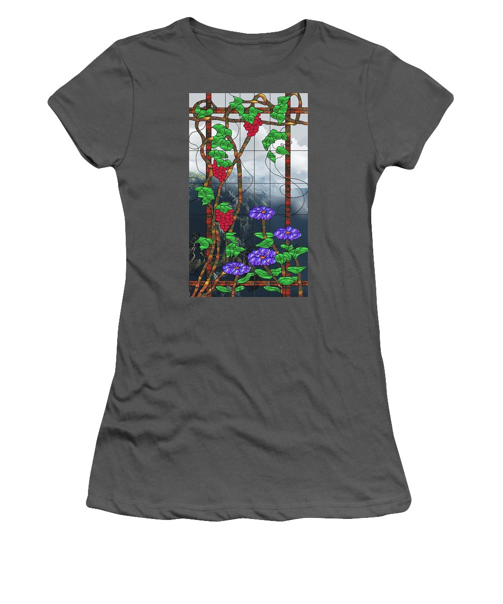 Room With A View Women's T-Shirt (Athletic Fit) featuring the mixed media Room With A View by Georgiana Romanovna