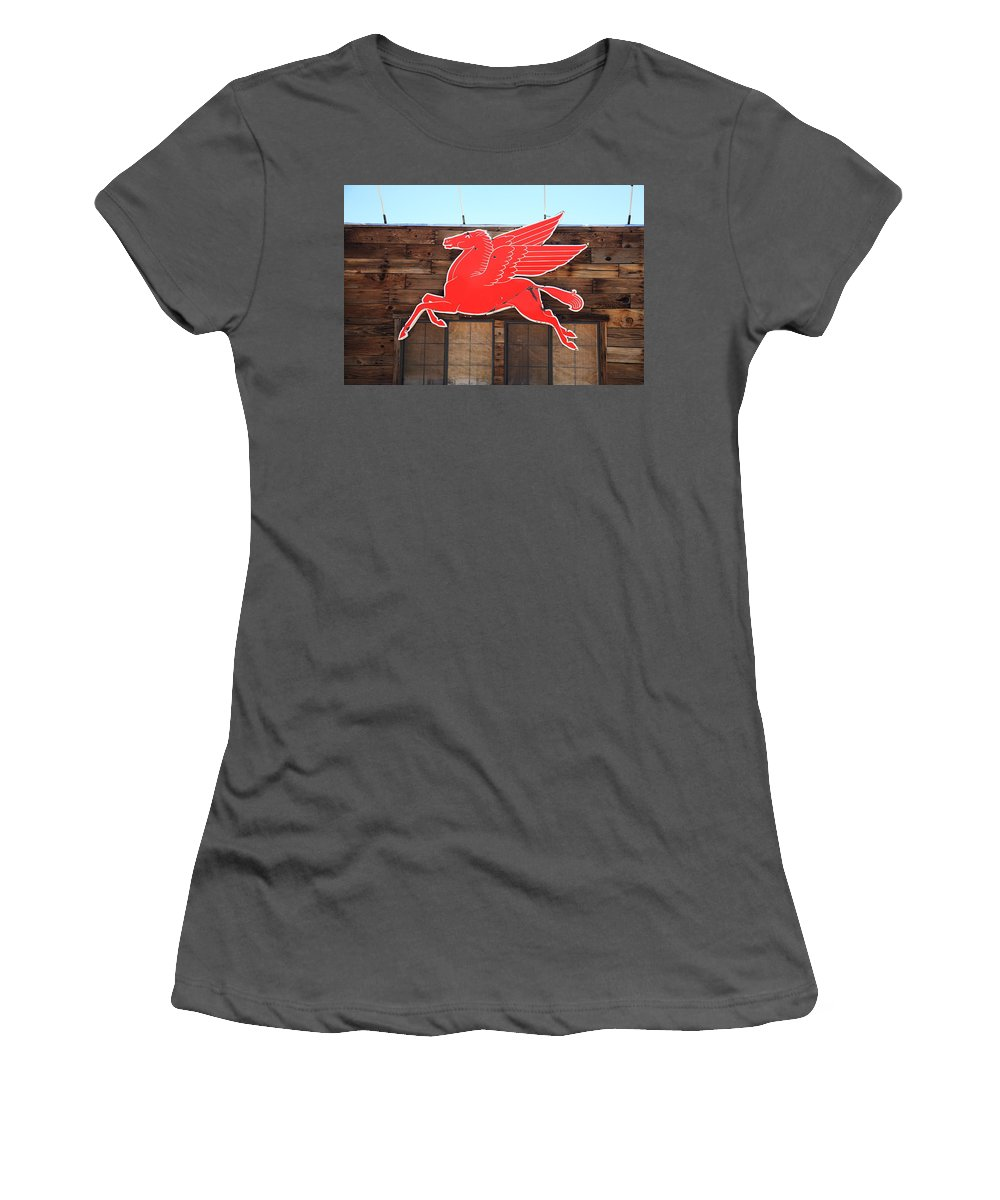 66 Women's T-Shirt (Athletic Fit) featuring the photograph Route 66 - Mobil Pegasus by Frank Romeo