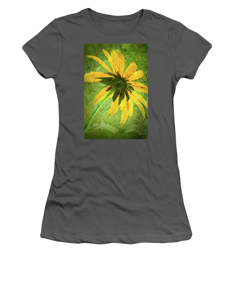 Black-eyed Susan Women's T-Shirt (Athletic Fit) featuring the photograph Rudbeckia On Cement by Onyonet Photo Studios