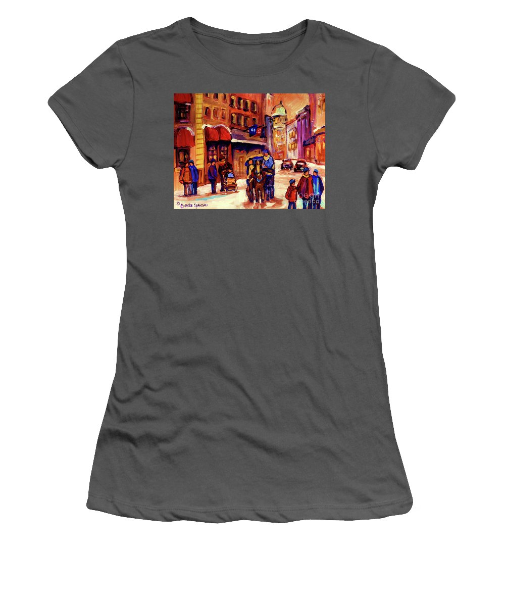 Montreal Women's T-Shirt (Athletic Fit) featuring the painting Rue St. Paul Old Montreal Streetscene In Winter by Carole Spandau